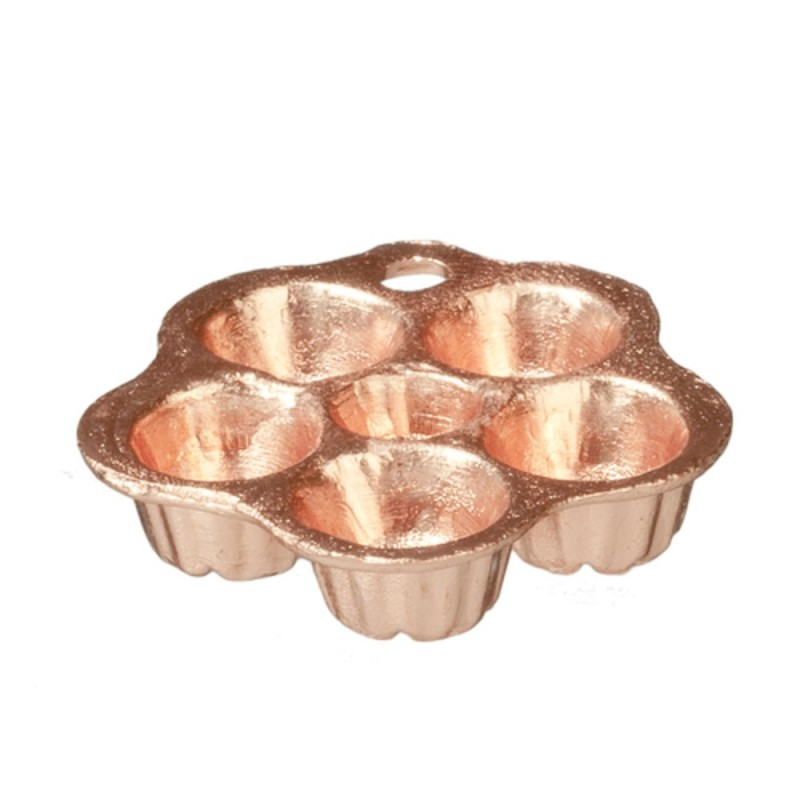 Dolls House Copper Bun Tin Cake Mould Miniature Baking Kitchen Accessory