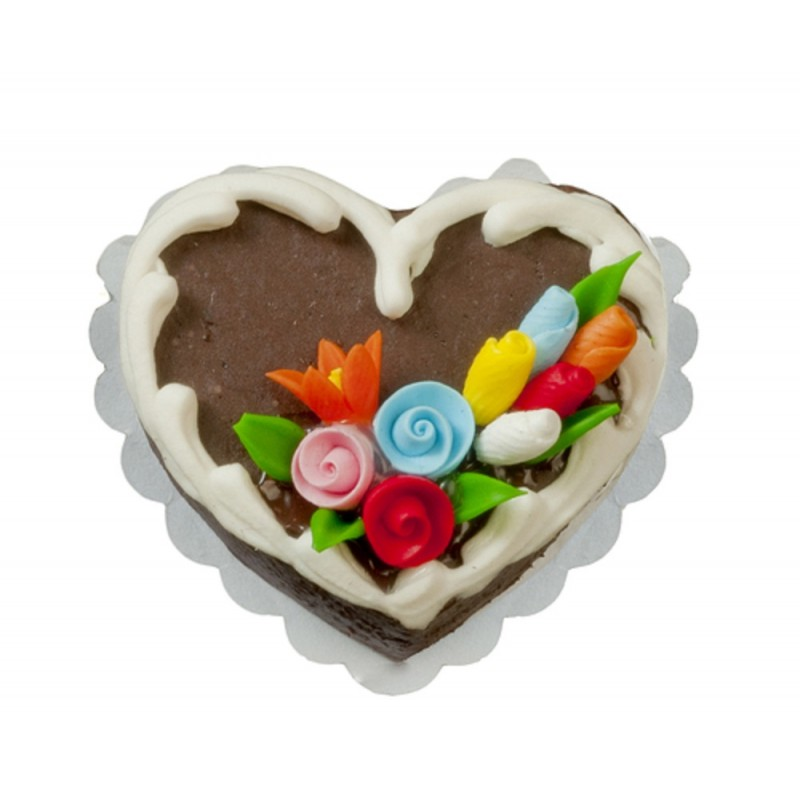 Dolls House Decorated Heart Cake on Doily Miniature Shop Dining Room Accessory