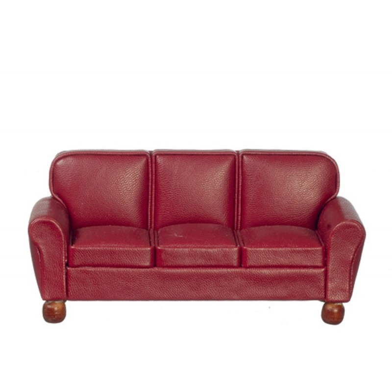 Dolls House RS Burgundy Leather 3 Seater Sofa Miniature Living Room Furniture
