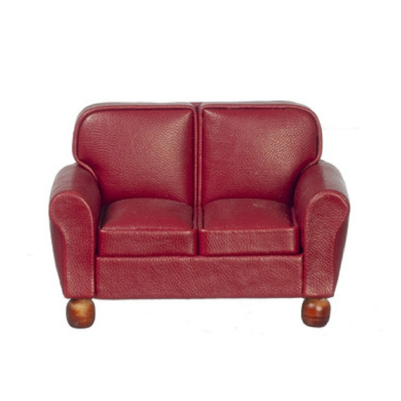 Dolls House RS Burgundy Leather 2 Seater Sofa Loveseat Living Room Furniture