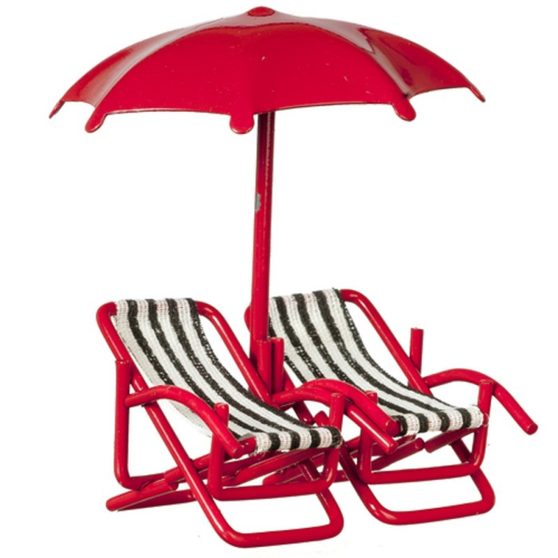 Dolls House Twin Deck Chairs & Umbrella 1:24 Half Inch Beach Garden Furniture