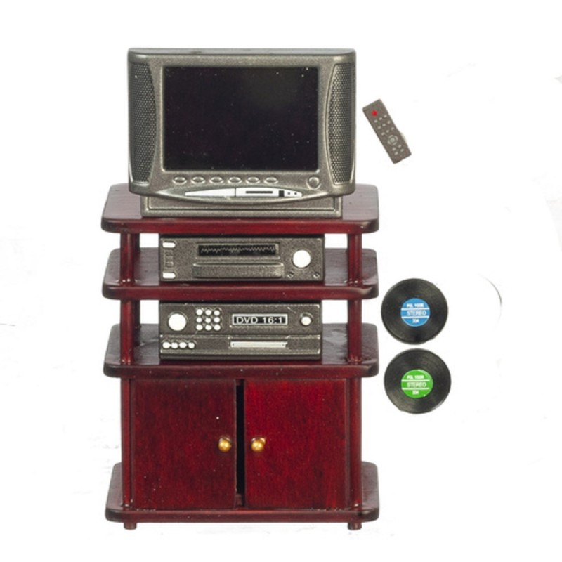 Dolls House Entertainment Centre Mahogany TV Stand  Living Room Furniture