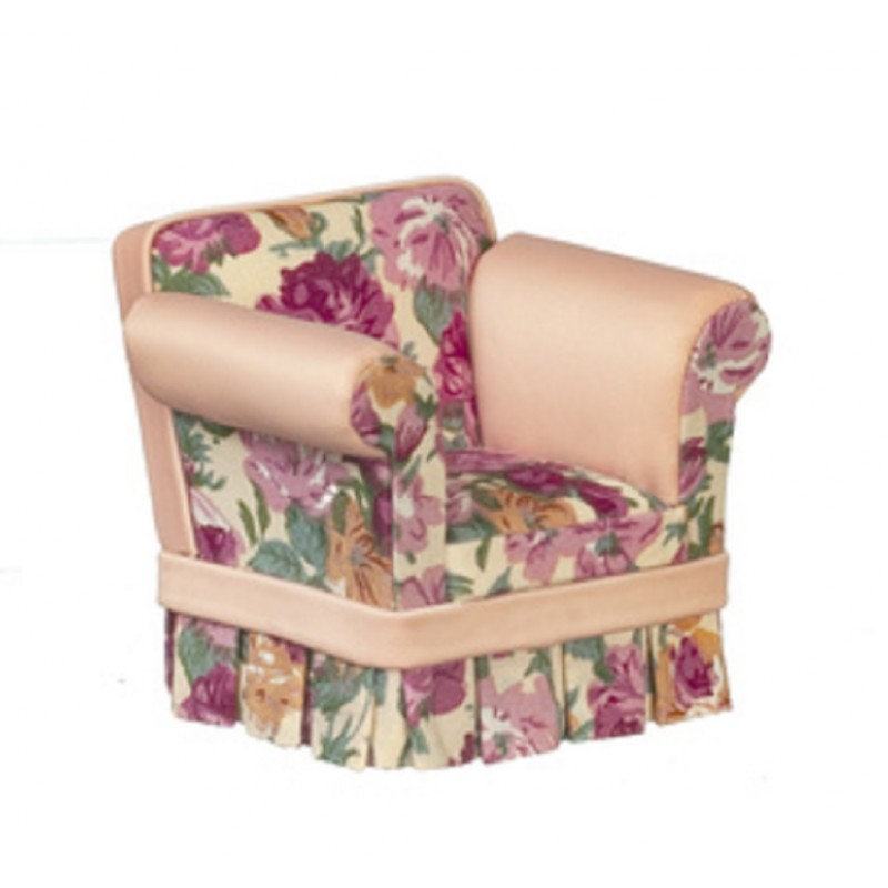 Dolls House Pink Floral Armchair Arm Chair JBM Miniature Living Room Furniture