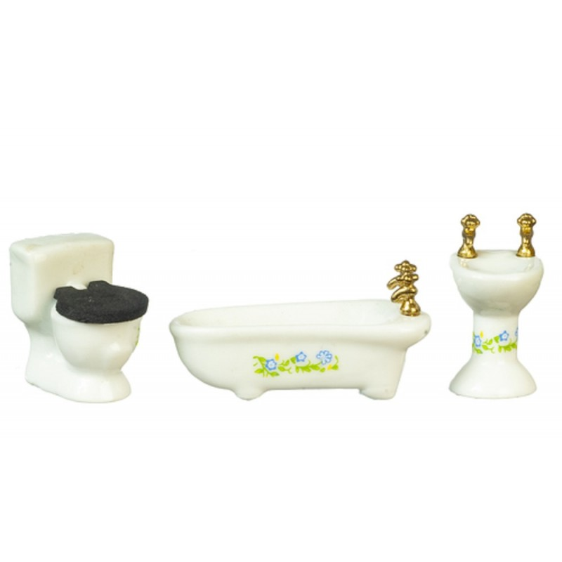 Dolls House 1:24 Scale 1/2in White Porcelain Bathroom Furniture Set Suite
