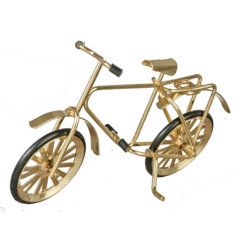 Dolls House Small Gold Bicycle Bike Miniature 1:12 Scale Garden Accessory