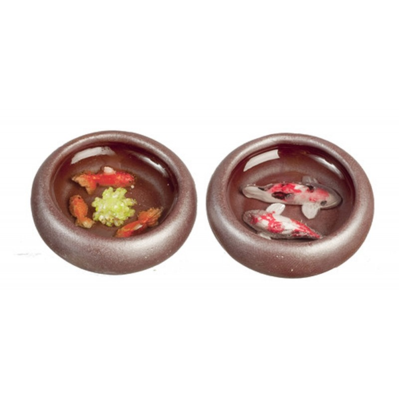 Dolls House Pair of Low Round Ornamental Fish Bowls 1:12 Scale Accessory