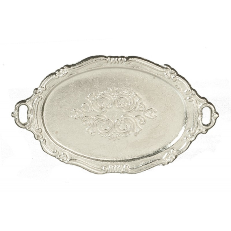 Dolls House Oval Silver Serving Tea Tray Miniature Dining Room Accessory