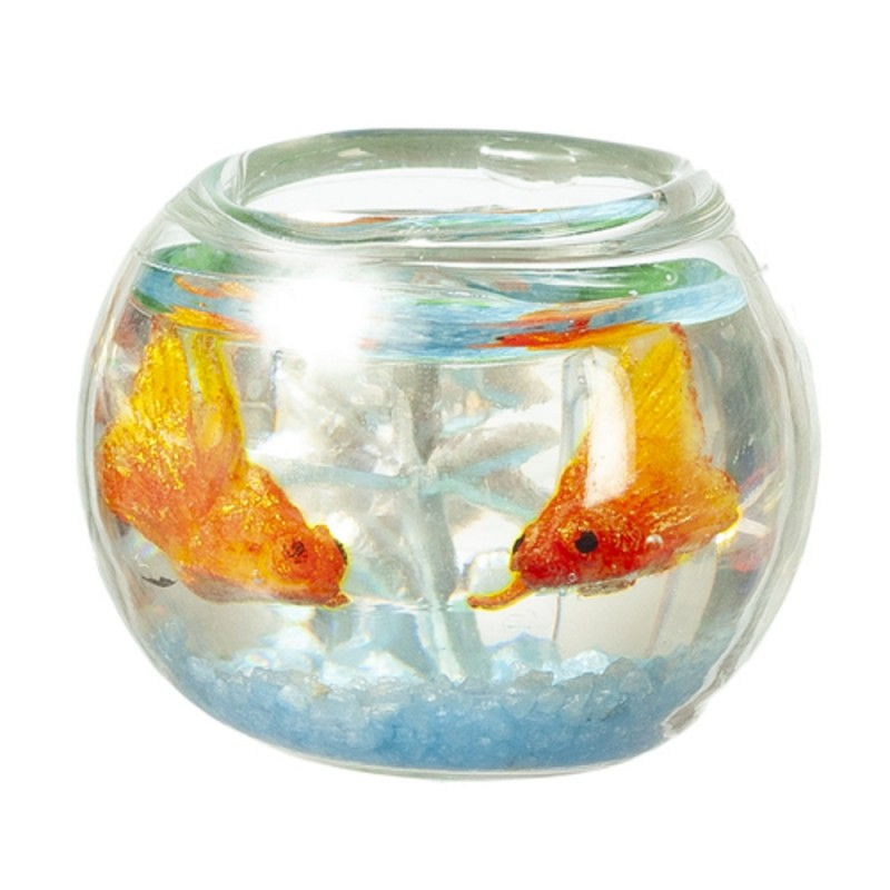 Dolls House Glass Goldfish Bowl with Fish 1:12 Pet Accessory Blue