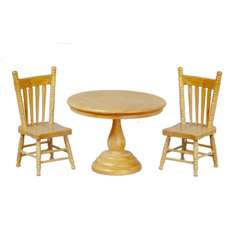 Dolls House Light Oak Round Table & 2 Chairs Miniature Dining Room Furniture Set