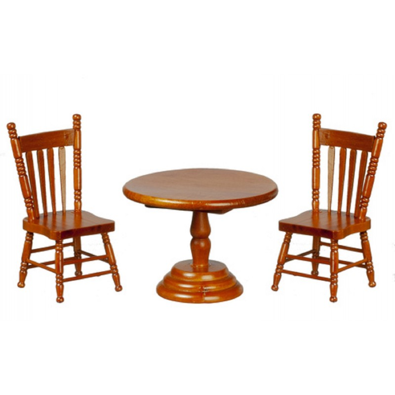 Dolls House Walnut Round Table & 2 Chairs Miniature Dining Room Furniture Set