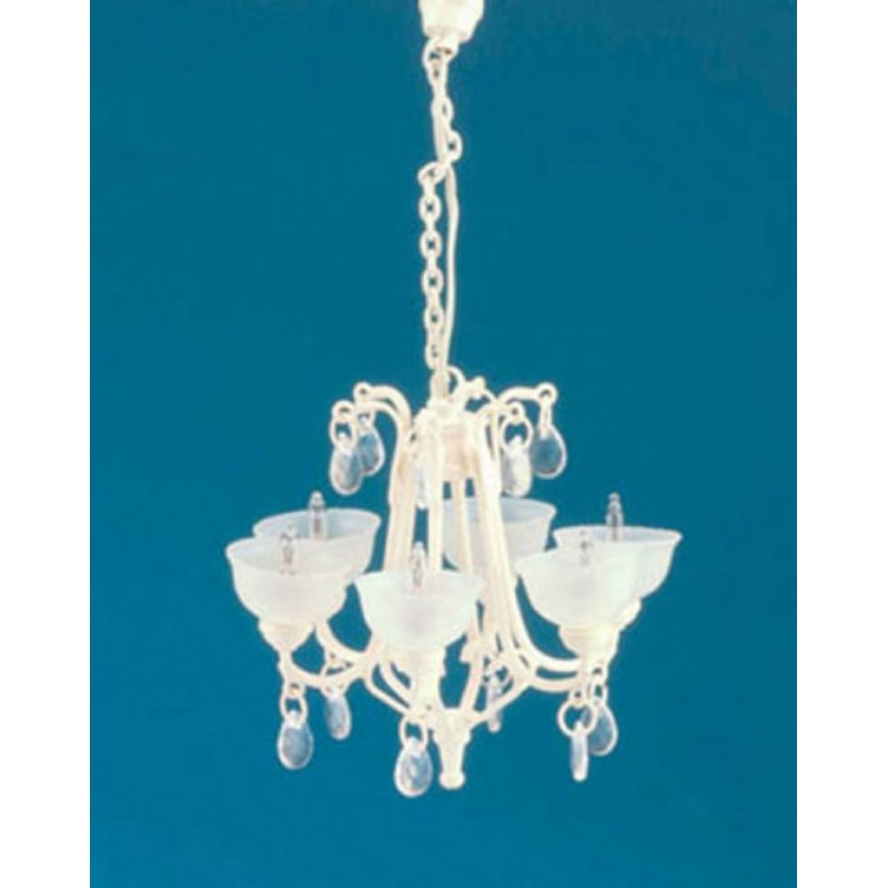 Dolls House White 6 Arm Crystal Drop Chandelier Frosted Shade 12V Electric Light