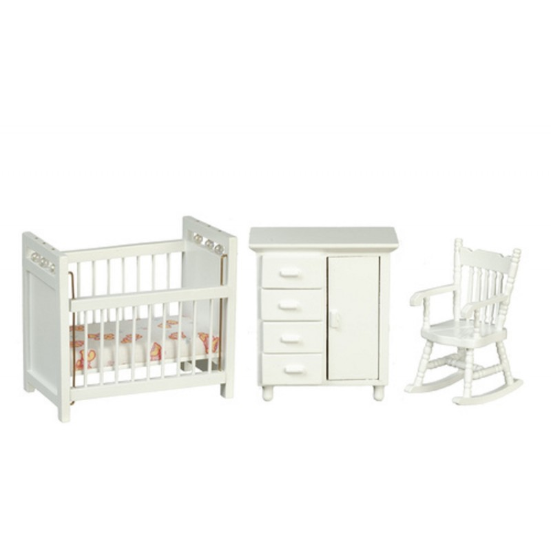 Dolls House White Nursery Furniture Set Miniature 3 Piece Baby Room 1:12 Scale