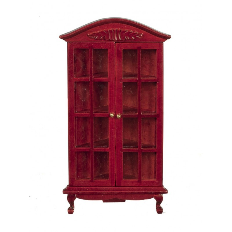 Dolls House Mahogany Queen Ann Corner China Cabinet Living Dining Room Furniture