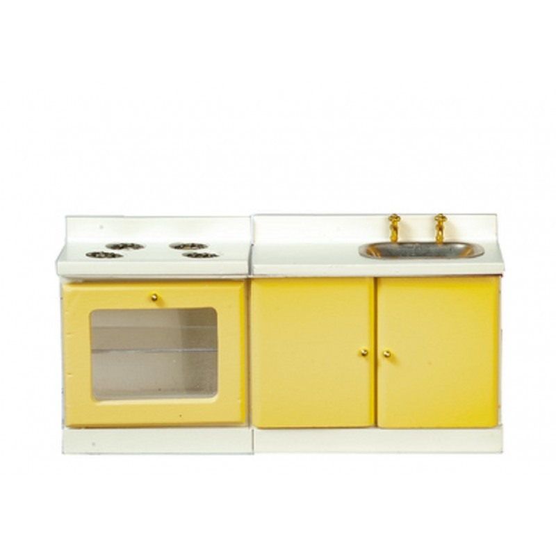 Dolls House Yellow & White Retro Modern Kitchen Furniture Sink & Cooker Stove