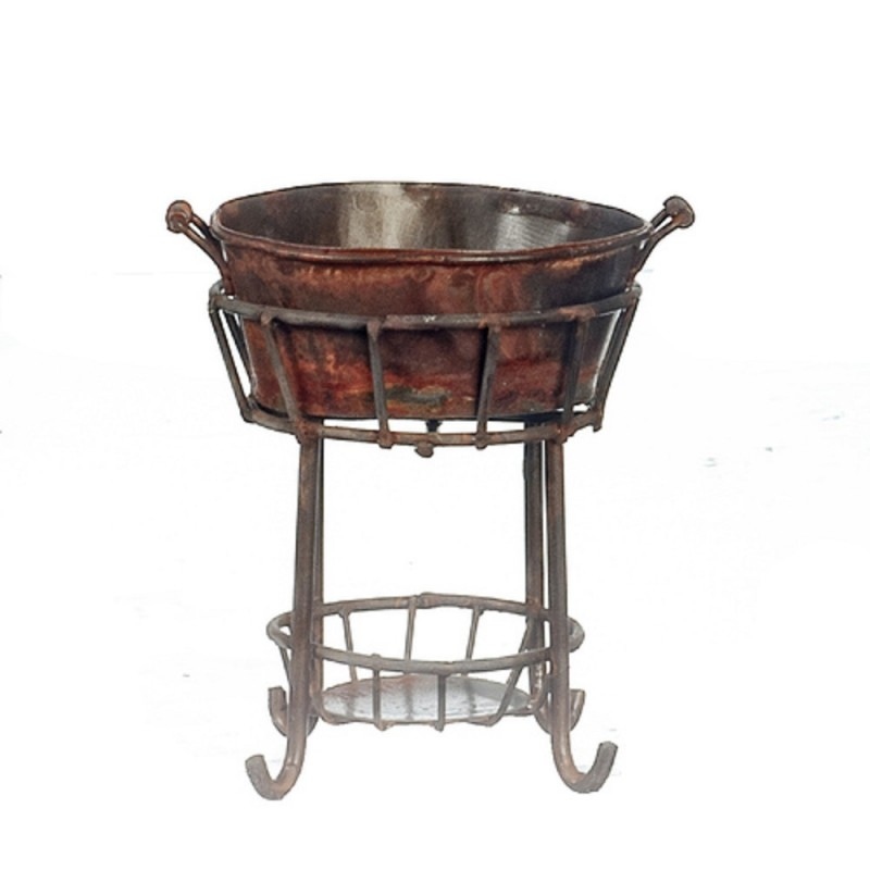 Dolls House Aged Rusty Tub on Stand Miniature 1:12 Yard Garden Accessory Small
