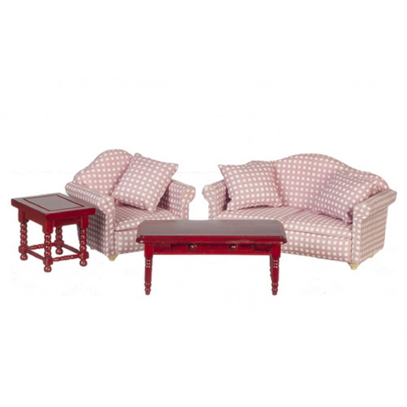 Dolls House Mahogany & Pink Modern Living Room Furniture Set 7 Piece Set