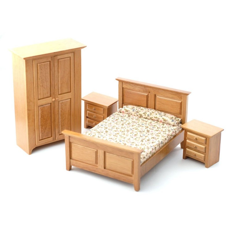 Dolls House Light Oak Country Bedroom Furniture Set 1:12 Scale 4 Piece