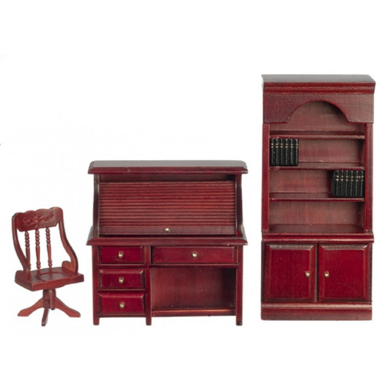Dolls House Mahogany Study Office Furniture Set  Desk Bookcase & Chair 1:12