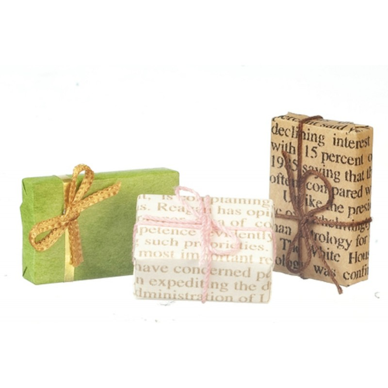 Dolls House Vintage Wrapped Gifts Christmas Birthday Presents Shop Accessory