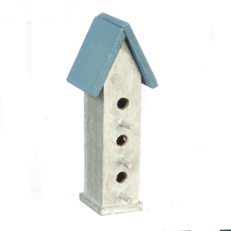 Dolls House Large Bird House Box Silver and Blue Miniature Garden Accessory 1:12