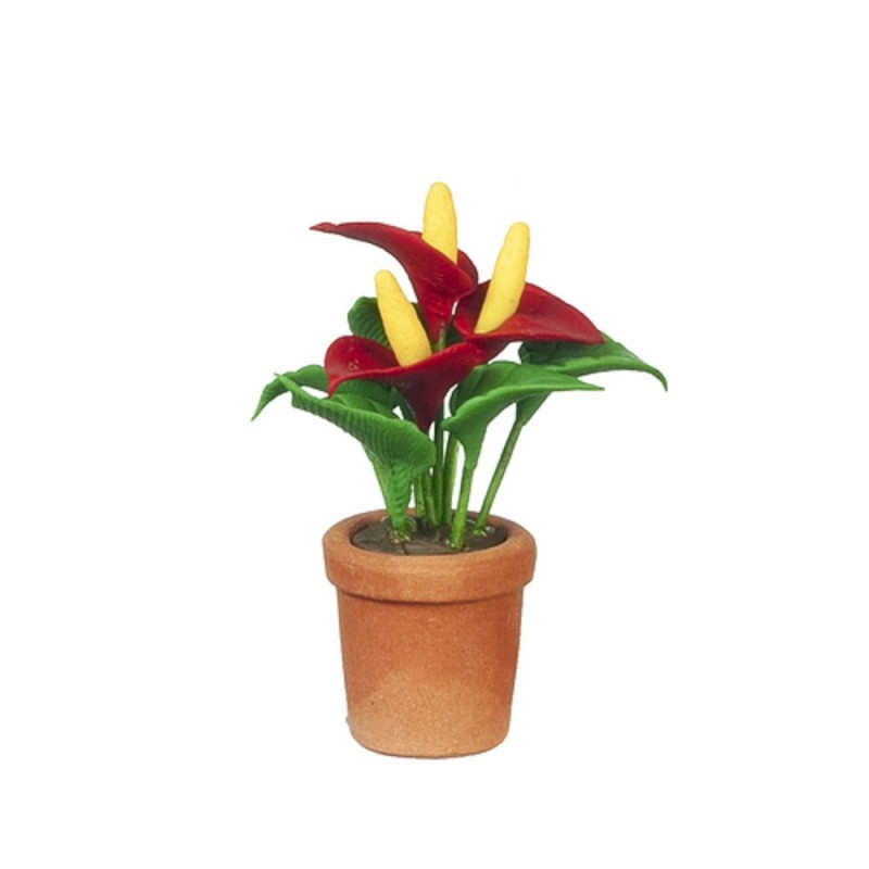 Dolls House Red Anthurium Laceleaf Flower in Terracotta Pot Garden Accessory