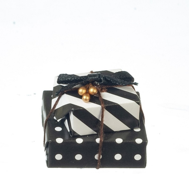 Dolls House Monochrome Wrapped Stacked Gifts Christmas Presents Shop Accessory