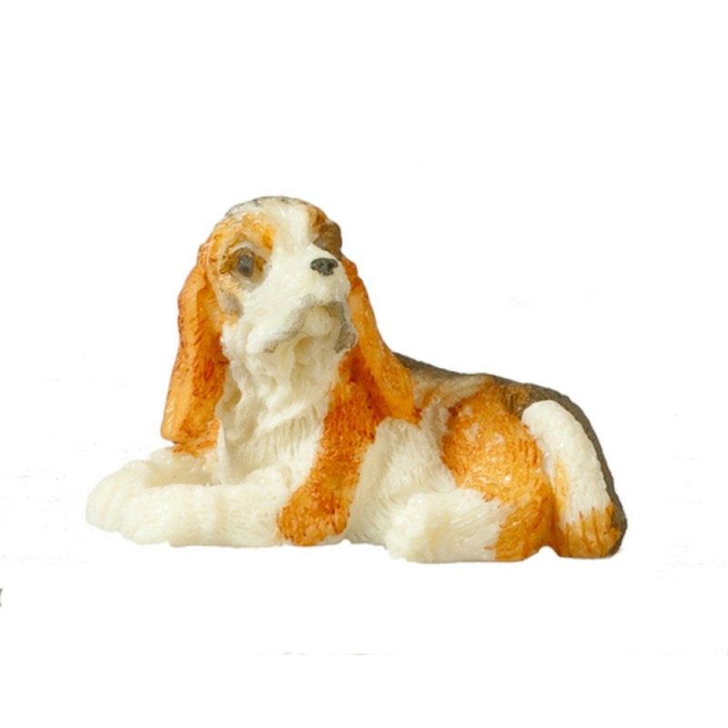 Dolls House Tri Colour Spanial Lying Down Small Miniature Pet Dog 1:12 Accessory