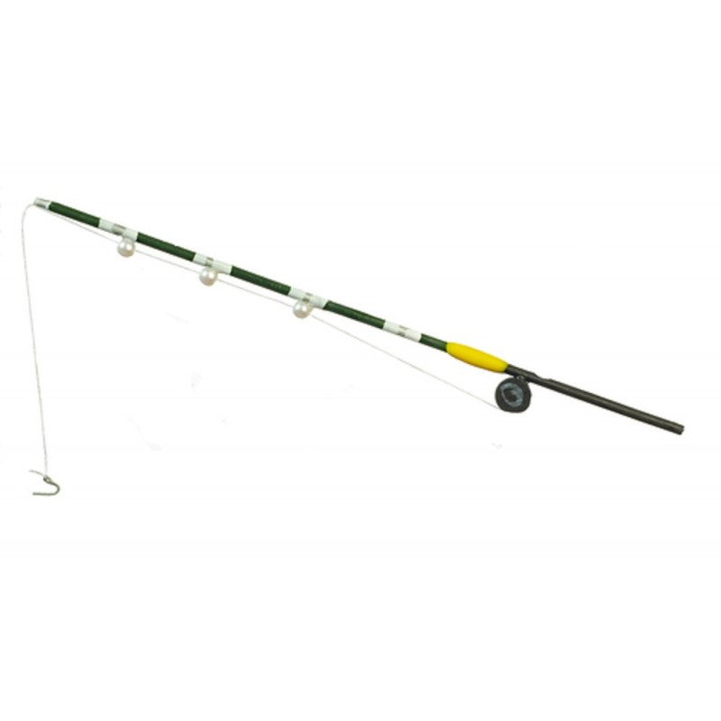 Dolls House Green Fishing Rod Miniature Beach Lake River Garden Shed Accessory