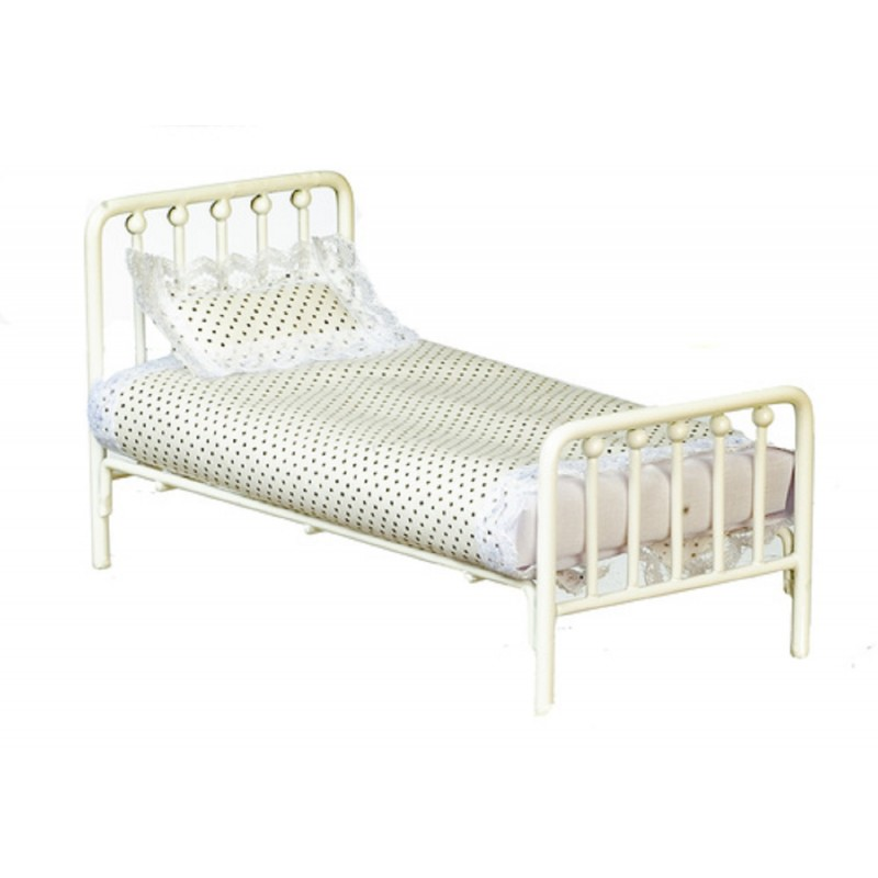 Dolls House Old Fashioned White Metal Single Bed Miniature Bedroom Furniture