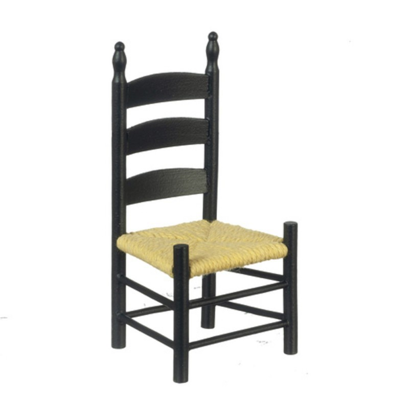 Dolls Houses Black Ladderback Side Chair Miniature Kitchen Dining Room Furniture