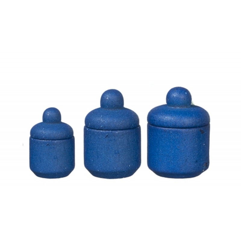 Dolls House Blue Wooden Canister Set Storage Jars Miniature Kitchen Accessory