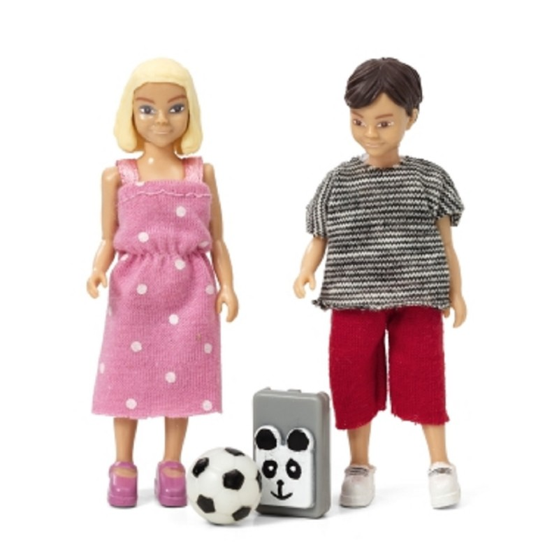Lundby Dolls House People Modern School Boy and School Girl