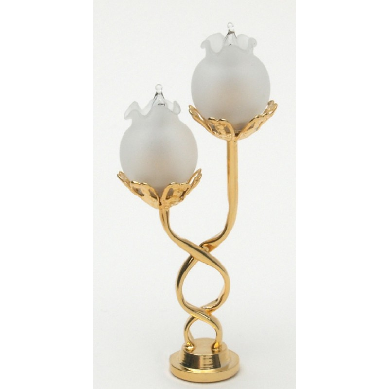Dolls House Double Twist Brass Table Lamp Frosted Shades LED Battery Lighting