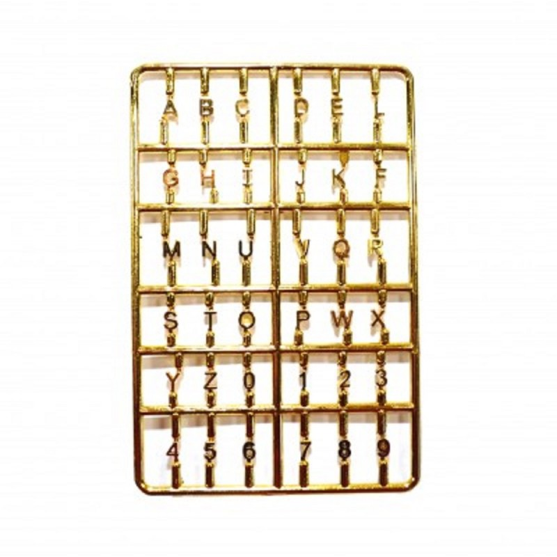 Dolls House Gold House Letters and Numbers Set Miniature Front Door Furniture