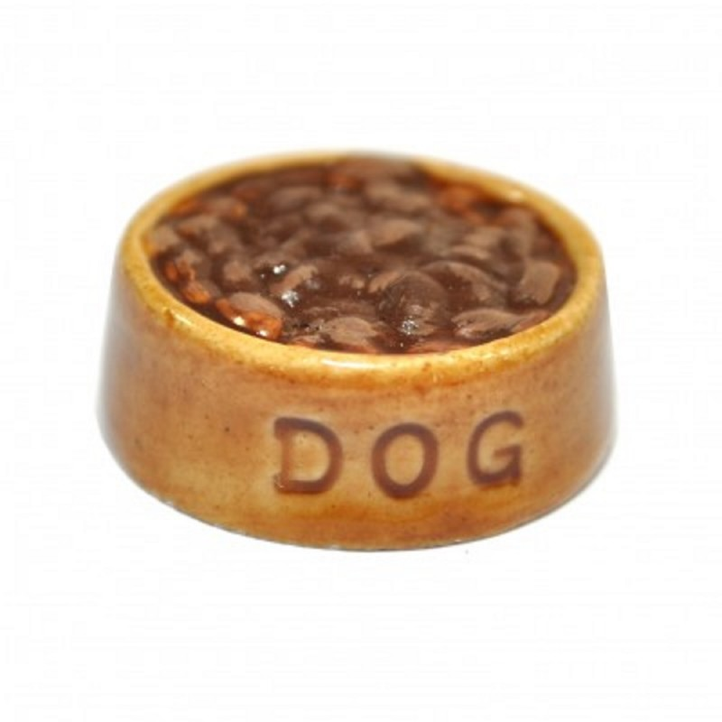 Dolls House Ceramic Dog Food in Dish Bowl Miniature Pet Accessory 1:12 Scale