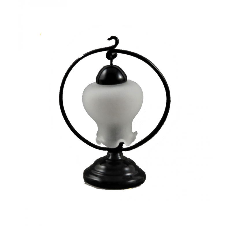 Dolls House Black Table Lamp With Circular Wire & Frosted Shade Electric Light