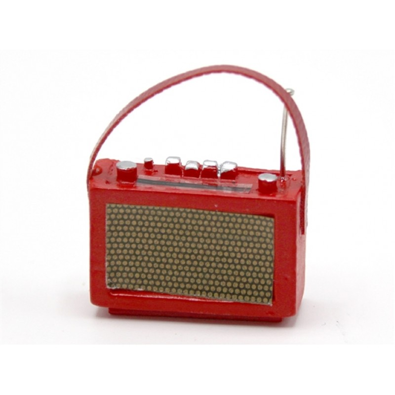 Dolls House 1960's Red Transistor Radio Miniature 1:12 Scale Accessory