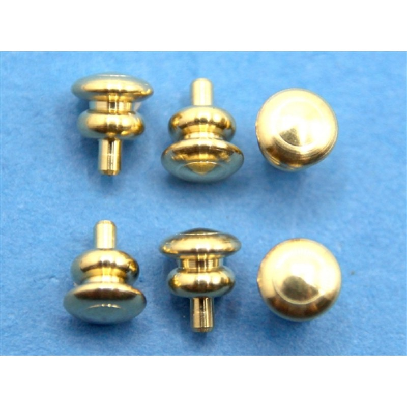 Dolls House Set 6 Round Gold Plated Brass Door Knobs Builders DIY Fittings 1:12