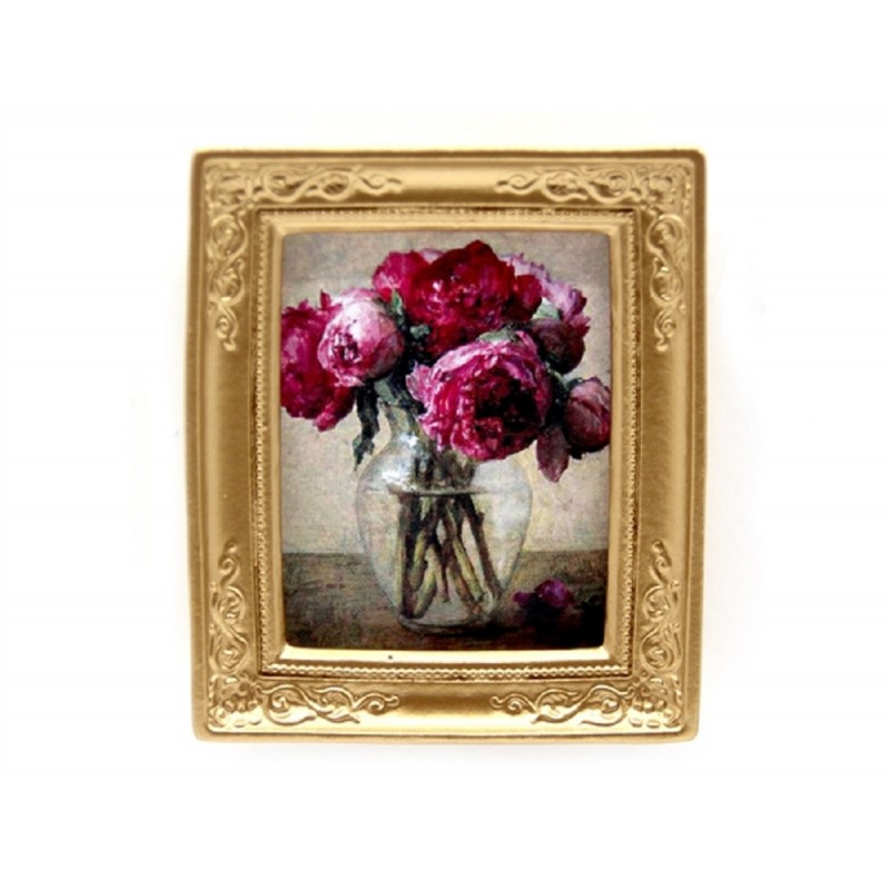 Dolls House Manet Pink Flowers Picture Painting Gold Frame Miniature Accessory