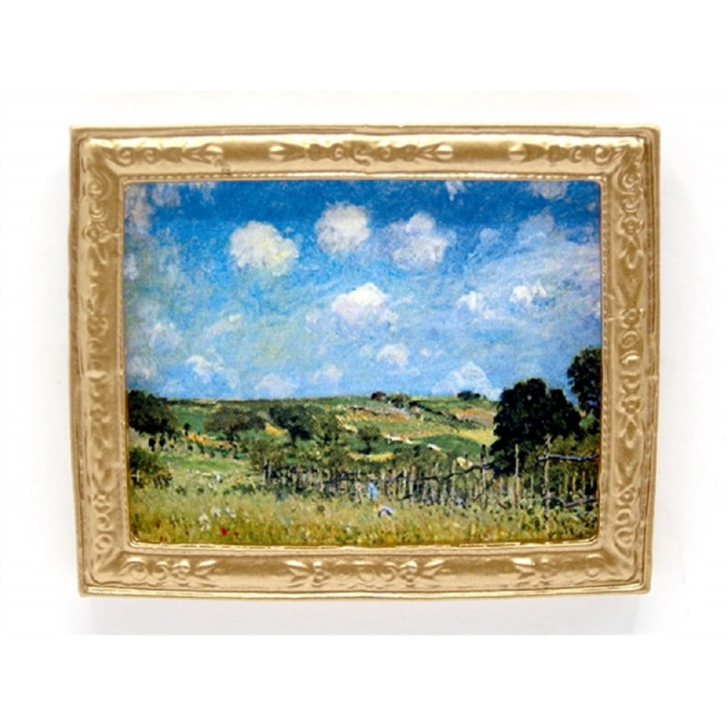 Dolls House Sisley Countryside Scenic Picture in Gold Frame Miniature Accessory