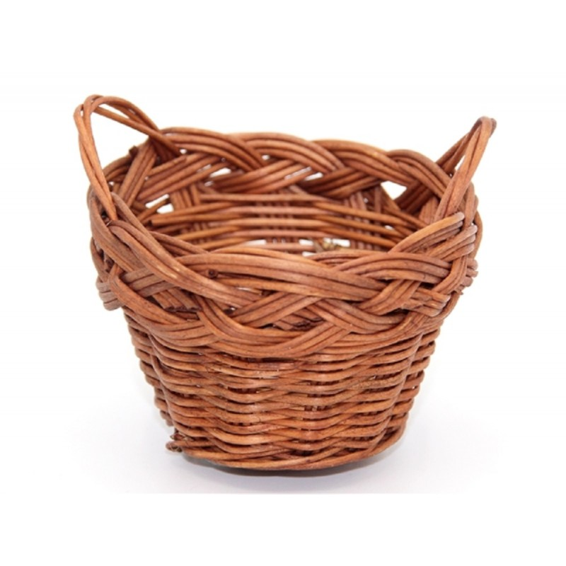 Dolls House 2 Handle Dark Wicker Washing Storage Basket Miniature 1:12 Accessory