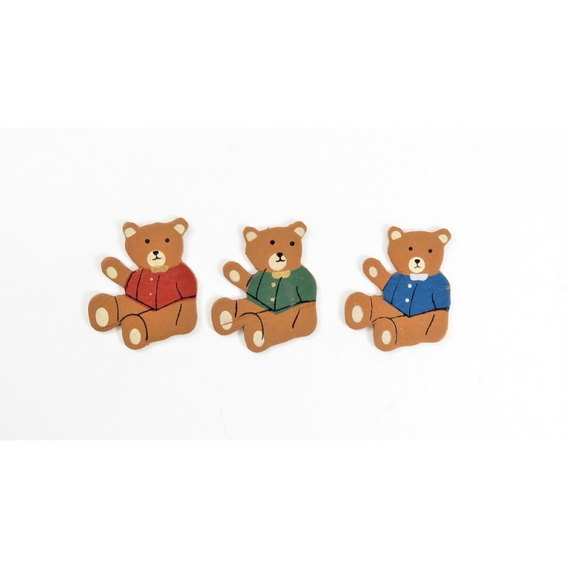 Dolls House 3 Wooden Teddy Bear Wall Decorations Miniature Nursery Accessory