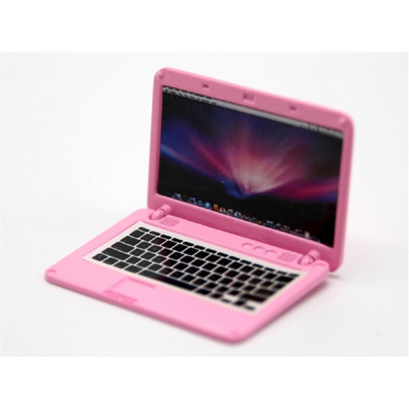 Dolls House Pink Lap Top Laptop Computer Metal Miniature Modern Accessory 1:12