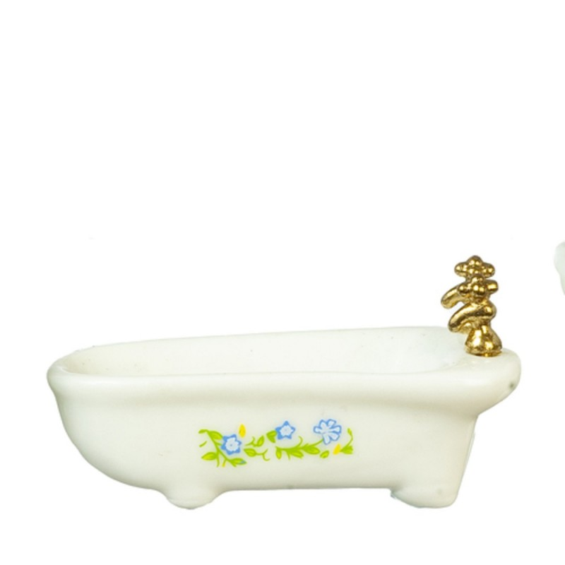 Dolls House White Bath Tub with Blue Flowers Miniature Furniture 1:24 Half Inch