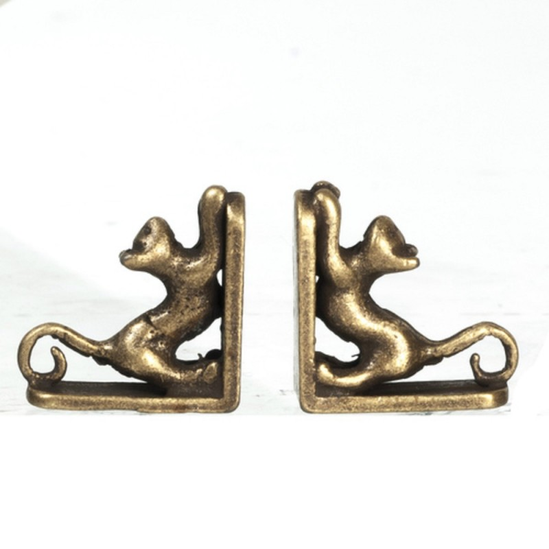 Dolls House Cat Bookends Antique Bronze Miniature Bookcase Study Accessory