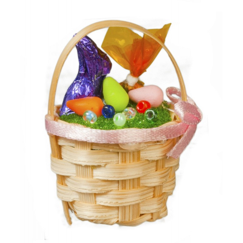 Dolls House Easter Basket with Chocolate Bunny Miniature 1:12 Scale Accessory