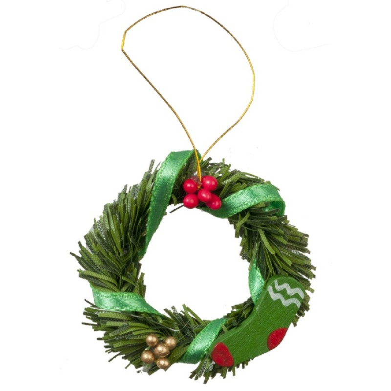 Dolls House Decorated Christmas Wreath Green Ribbon Miniature Door Accessory