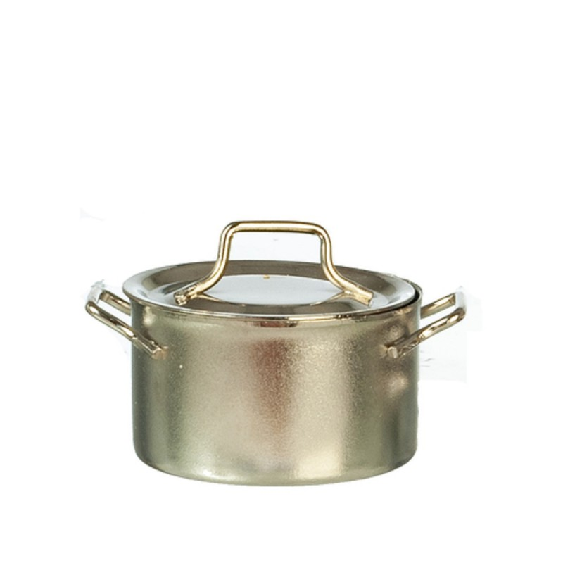 Dolls House Silver Saucepan Pan Stock Pot Miniature Kitchen Cookware Accessory