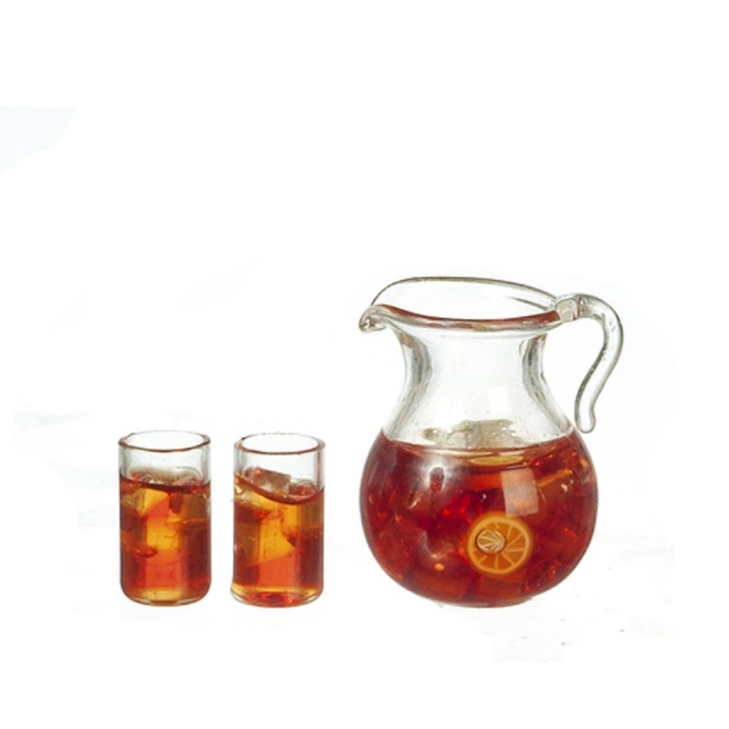 Dolls House Jug & 2 Glasses of Iced Tea Miniature Kitchen Dining Accessory 1:12