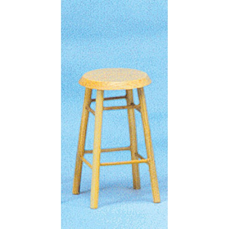 Dolls House Oak 4 Legged Breakfast Bar Stool Miniature Kitchen Cafe Furniture
